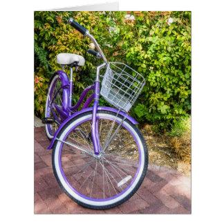 Bicicleta púrpura - niños - - chicas - mujeres ret tarjeta