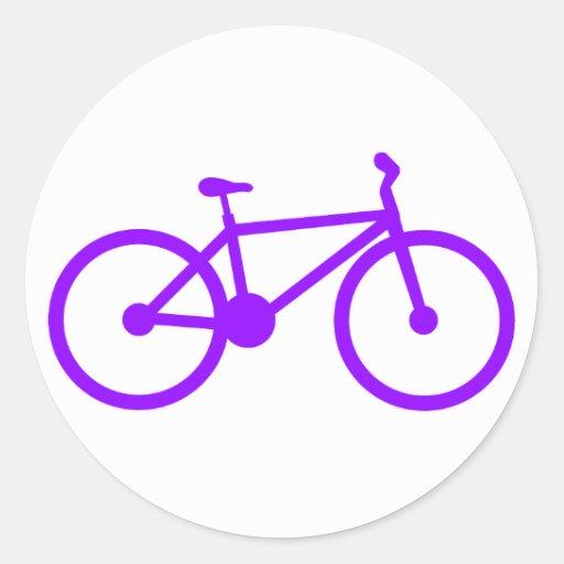Bicicleta púrpura violeta pegatinas redondas