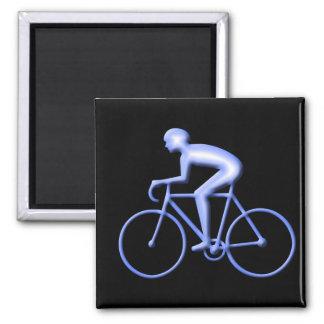 Bicicleta que compite con en azul imán cuadrado