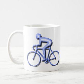 Bicicleta que compite con en azul taza