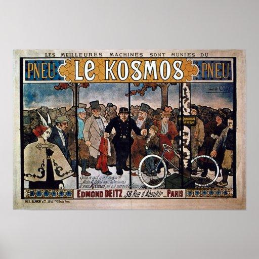 Bicicleta que hace publicidad de Vintage le Cosmos Póster