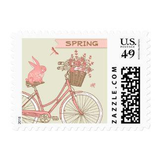 Bicicleta retra w/Rabbit de la primavera y cesta Timbre Postal
