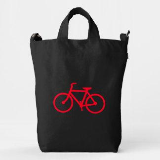 Bicicleta roja bolsa de lona duck