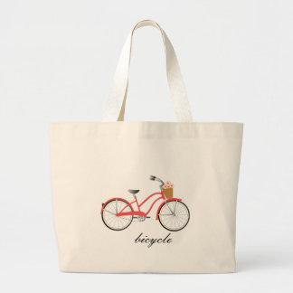 Bicicleta roja bolsa tela grande