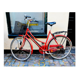 Bicicleta roja, Copenhague, Dinamarca Postales