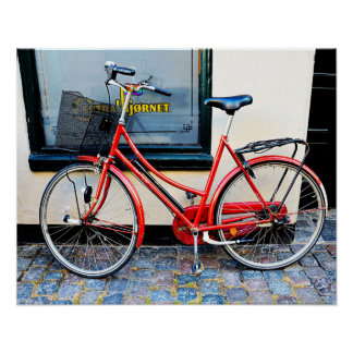 Bicicleta roja, Copenhague, Dinamarca Póster