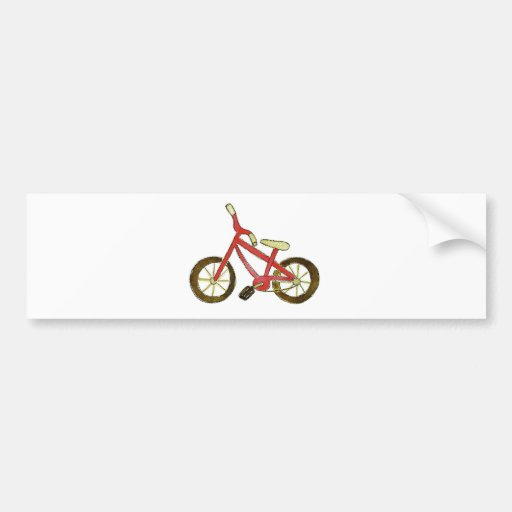 Bicicleta roja etiqueta de parachoque