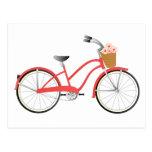 Bicicleta roja tarjetas postales