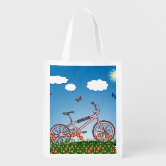 Bicicleta rosada bolsa reutilizable