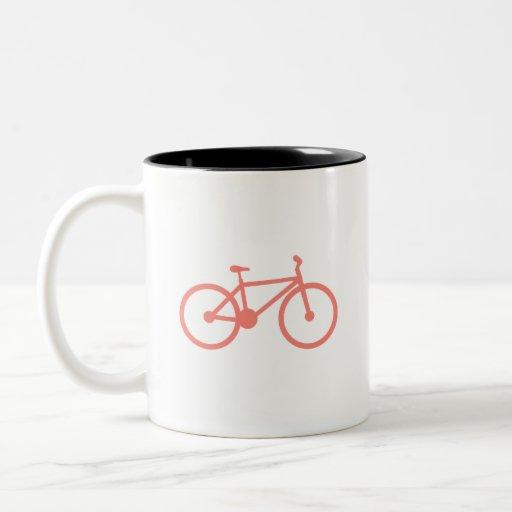 Bicicleta rosada coralina taza dos tonos