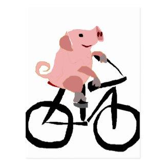 Bicicleta rosada divertida del montar a caballo tarjetas postales