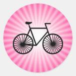 Bicicleta rosada pegatina redonda