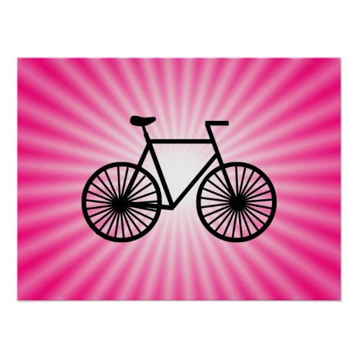 Bicicleta rosada póster