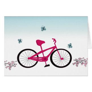 Bicicleta rosada tarjeton