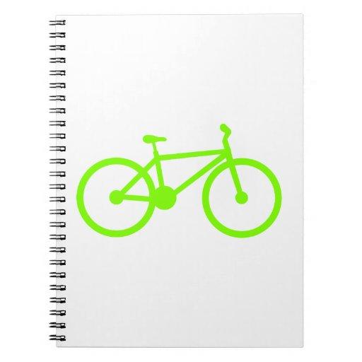 Bicicleta verde chartreuse, de neón libreta espiral