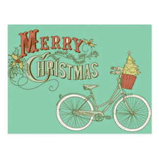 Bicicleta verde de las Felices Navidad del vintage Tarjetas Postales
