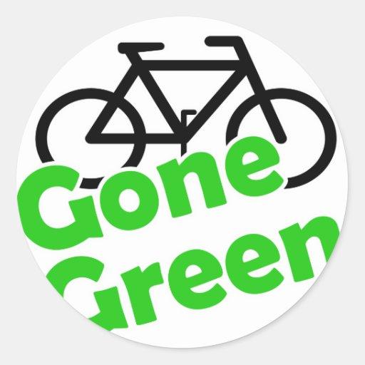 bicicleta verde ida pegatina redonda