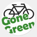 bicicleta verde ida pegatinas redondas