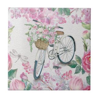 Bicicleta y flores elegantes azulejo cuadrado pequeño