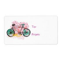 Bicicleta y fondo floral etiquetas