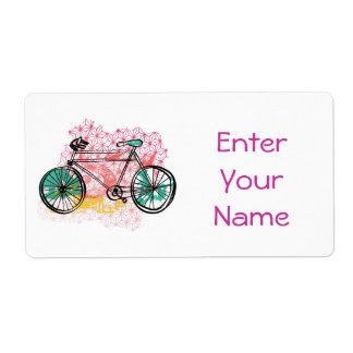 Bicicleta y fondo floral etiquetas de envío