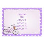 Bicicleta y lunares púrpuras tarjeta de visita
