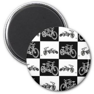 Bicicletas del tablero de damas imán redondo 5 cm