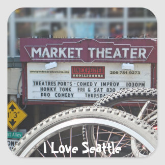 Bicicletas en el teatro pegatina cuadrada