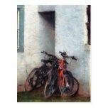 Bicicletas en yarda postal