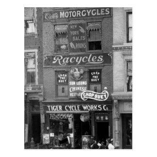 Bicicletas, motocicletas, y tajada Suey, 1900s Postales