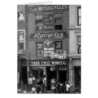 Bicicletas motocicletas y tajada Suey 1900s tem Tarjetón