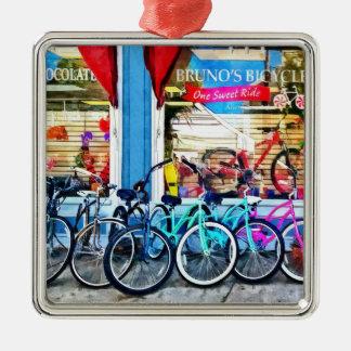 Bicicletas y chocolate adornos de navidad