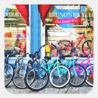 Bicicletas y chocolate pegatina cuadrada