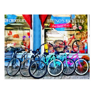 Bicicletas y chocolate tarjeta postal