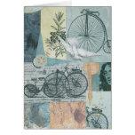 Bicicletas y tarjeta del arte del collage de la pa