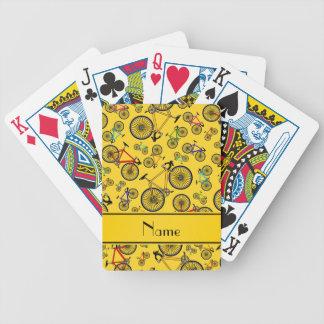 Bicis amarillas conocidas personalizadas del barajas de cartas