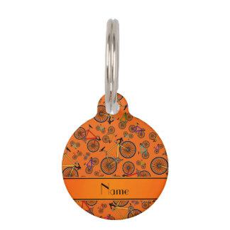 Bicis anaranjadas conocidas personalizadas del identificador para mascotas