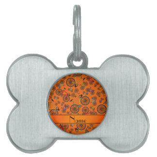 Bicis anaranjadas conocidas personalizadas del placas mascota