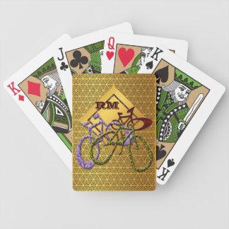 Bicis cones monograma del oro baraja de cartas