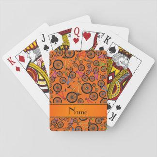 Bicis de montaña anaranjadas conocidas baraja de cartas