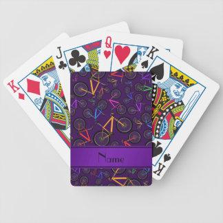 Bicis de montaña púrpura conocidas personalizadas baraja cartas de poker
