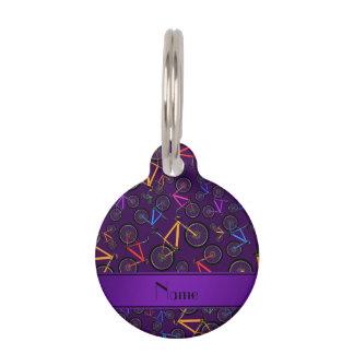 Bicis de montaña púrpura conocidas personalizadas placas para mascotas