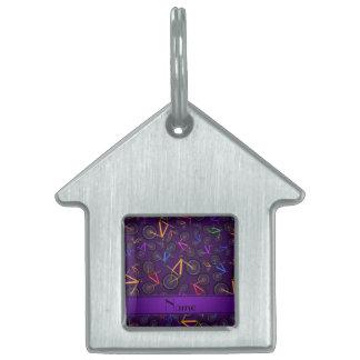 Bicis de montaña púrpura conocidas personalizadas placa de mascota