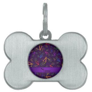 Bicis de montaña púrpura conocidas personalizadas placas de mascota