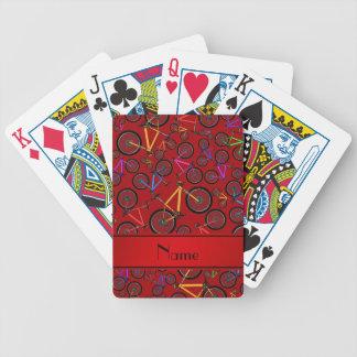 Bicis de montaña rojas conocidas personalizadas barajas de cartas
