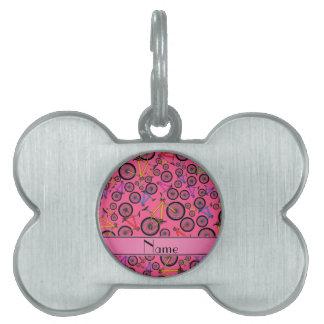 Bicis de montaña rosadas conocidas personalizadas placas de nombre de mascota