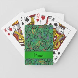 Bicis de montaña verdes conocidas personalizadas baraja de cartas