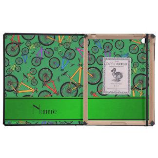 Bicis de montaña verdes conocidas personalizadas iPad carcasas