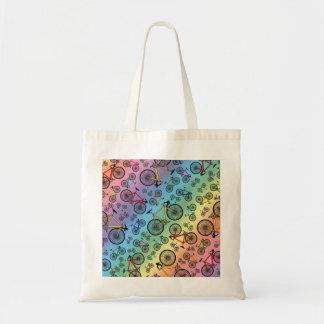 Bicis del camino del arco iris bolsas lienzo