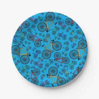 Bicis del camino del azul de cielo plato de papel de 7 pulgadas